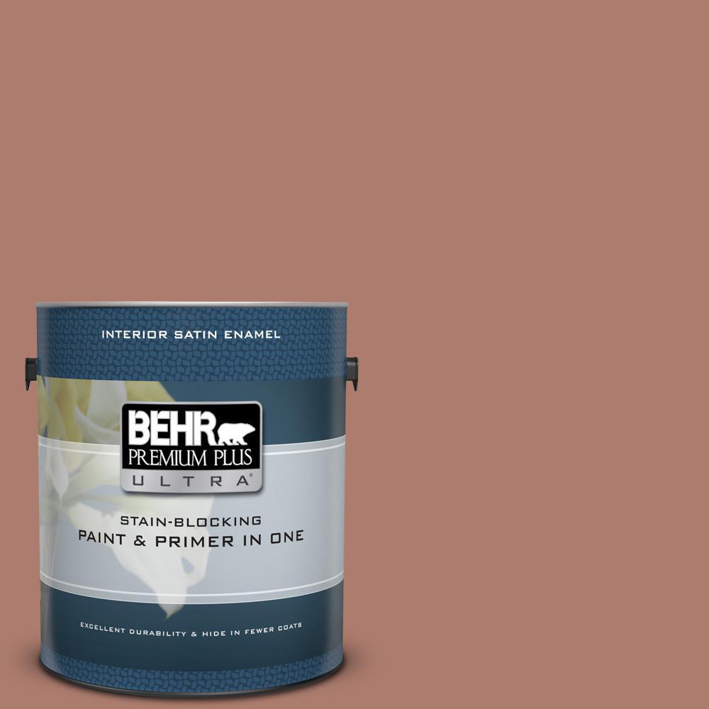 BEHR Premium Plus Ultra 1 gal. #PPU2-11 Mars Red Satin Enamel Interior Paint and Primer in One