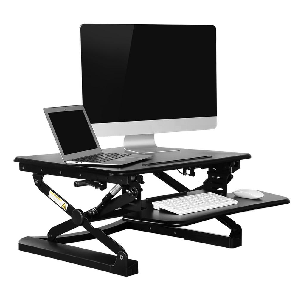 flexispot height adjustable standup desk 26 in w platform standing desk riser removable keyboard tray blackm1b the home depot