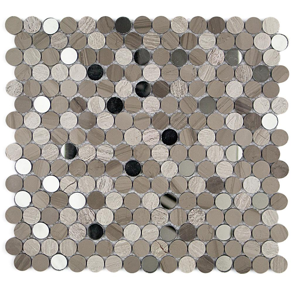 Mirage Penny Round Gray and Beige 11.25 in. x 12.75 in.
