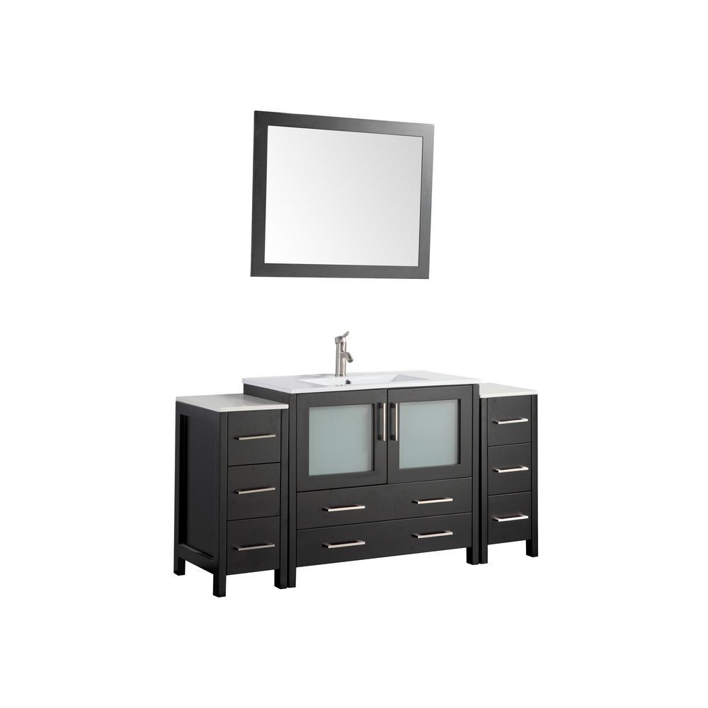60 in. W x 18 in. D x 36 in. H Bathroom Vanity in Espresso with Single Basin Vanity Top in White Ceramic and Mirror
