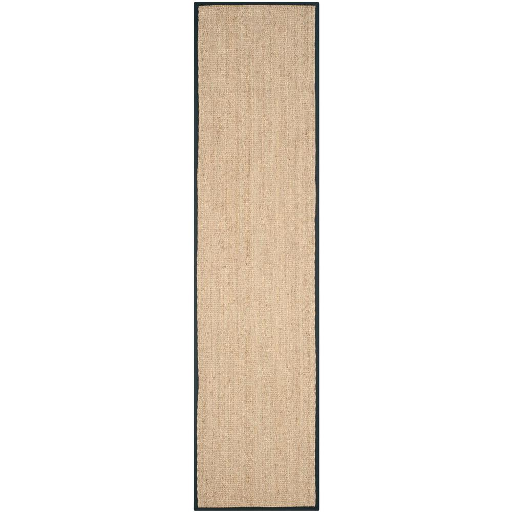 Natural Fiber Beige/Black 2 ft. 6 in. x 12 ft. Runner