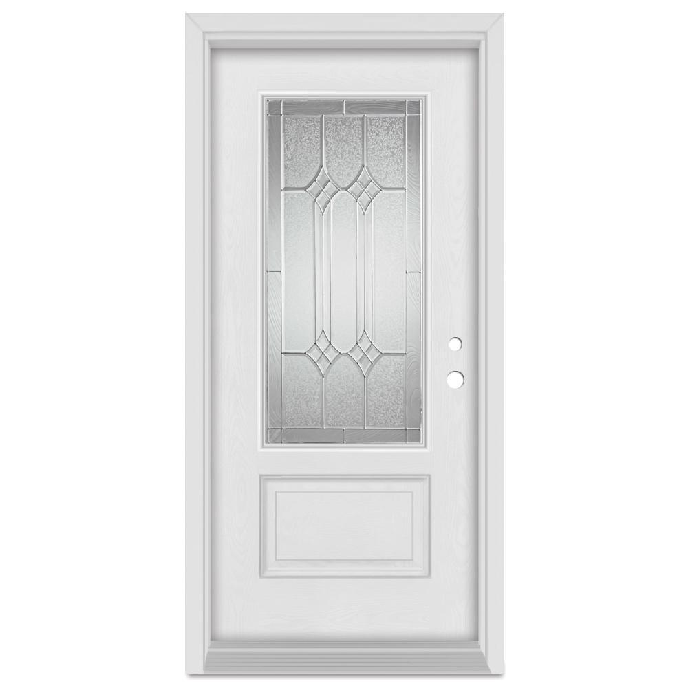 Stanley Doors 33.375 in. x 83 in. Orleans Left-Hand Zinc Finished Fiberglass Mahogany Woodgrain Prehung Front Door Brickmould