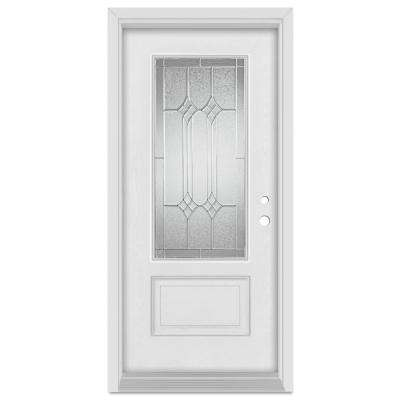 32 in. x 80 in. Orleans Left-Hand Zinc Finished Fiberglass Mahogany Woodgrain Prehung Front Door Brickmould