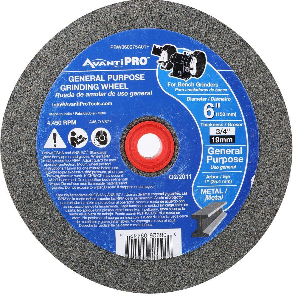 Avanti Pro 6 in. x 3/4 in. x 1 in. Bench Grinding Wheel