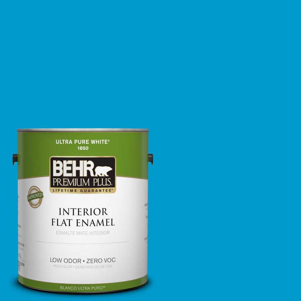 BEHR Premium Plus 1-gal. #550B-6 Isle of Capri Zero VOC Flat Enamel Interior Paint-DISCONTINUED