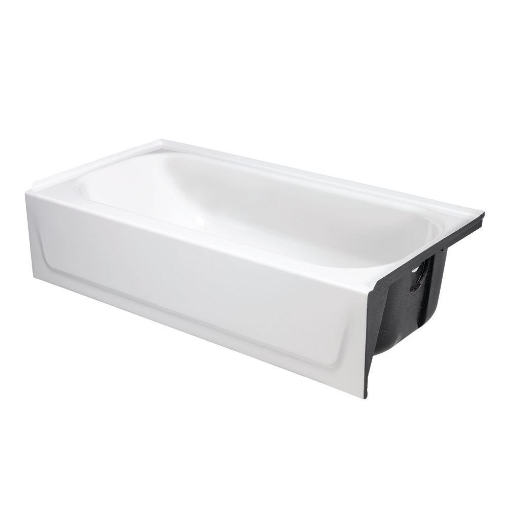 Bootzcast 60 in. Right Drain Rectangular Alcove Soaking Bathtub in White