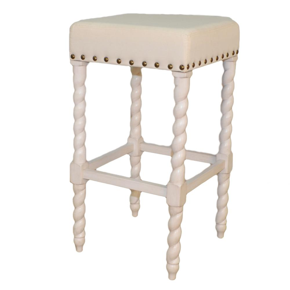 White And Linen Barley Twist Upholstered Bar Stool