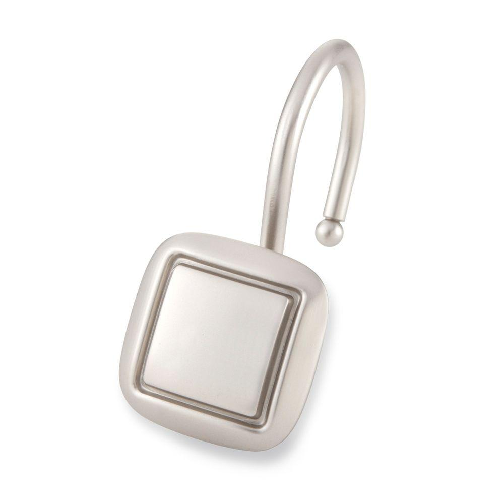 Square Shower Hooks In Brushed Nickel 12 Pack
