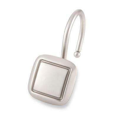 Square Shower Hooks in Brushed Nickel (12-Pack)