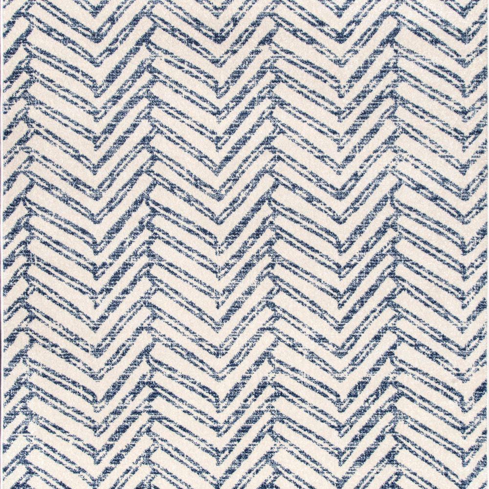Rosanne Blue 6 ft. Square Geometric Herringbone Indoor Area Rug