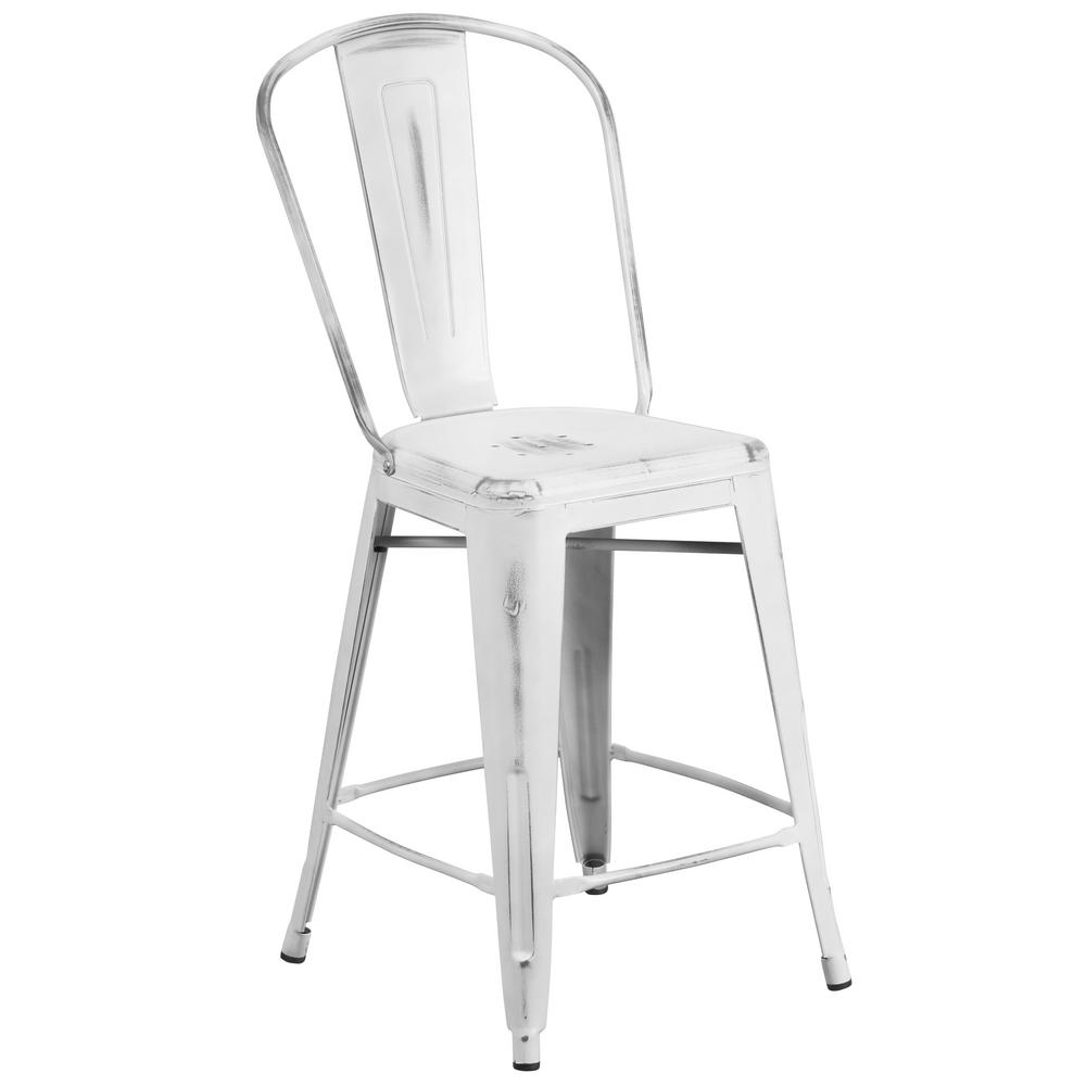 Flash Furniture 24 In. Distressed White Bar Stool
