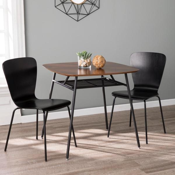 Winston Walnut and Black Square Dining Table