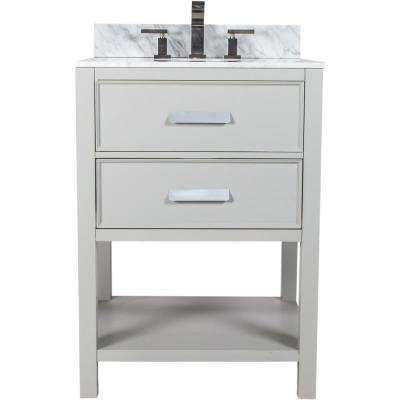 Cleo 24.50 in. W x 22.75 in. D Bath Vanity in Gray with Granite Vanity Top in White with Black Nickel Basin