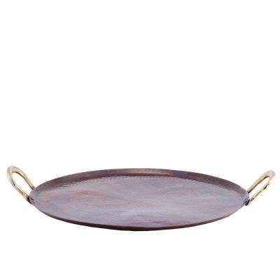 1 Piece Antique Copper Round Tray Hammered with Brass Handles