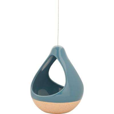 Live Green Nidos 4.25 in. Blue Ceramic Hanging Short Pear Planter