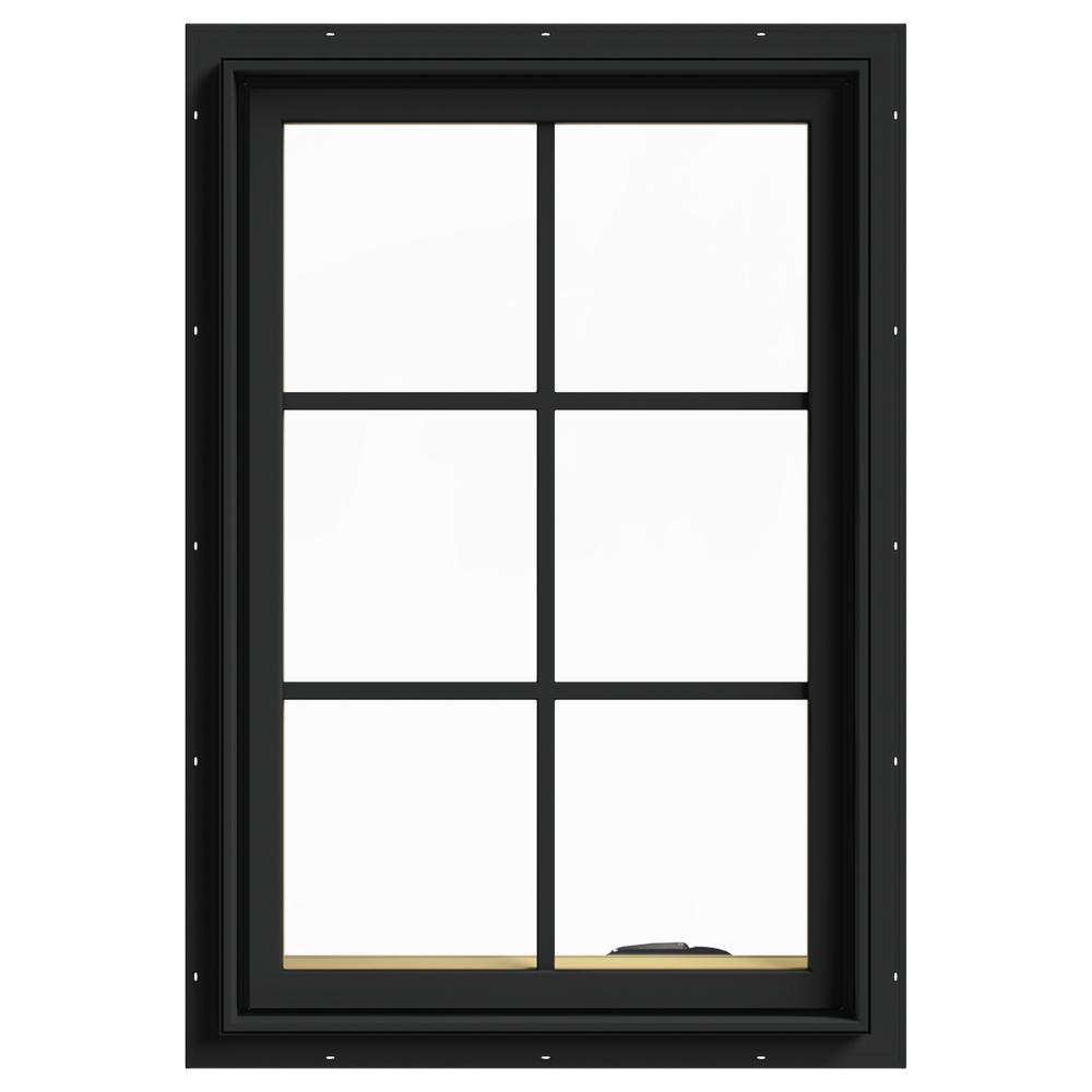 W 2500 Series Bronze Painted Clad Wood Right Handed Cat Window With Colonial Grids Grilles