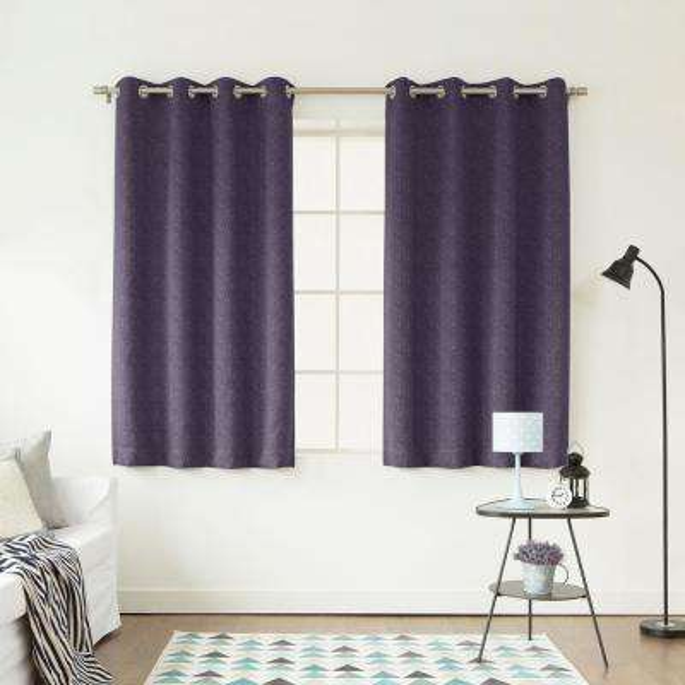 72 in. L Purple Linen Print Room Darkening Curtain Panel (2-Pack)
