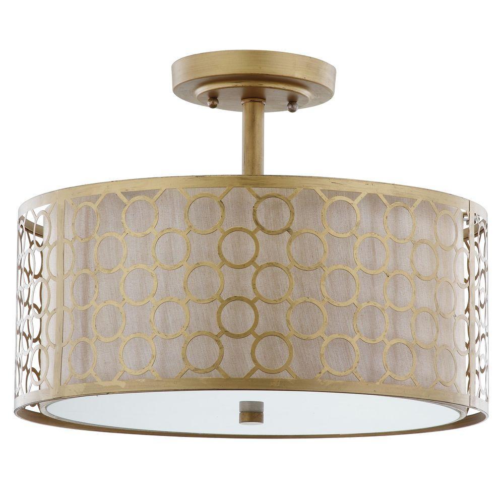 Giotta 3-Light Antique Gold Semi-Flush Mount Light