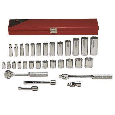 3/8 in. Drive 6-Point Standard and Deep SAE Socket Set (31-Piece)