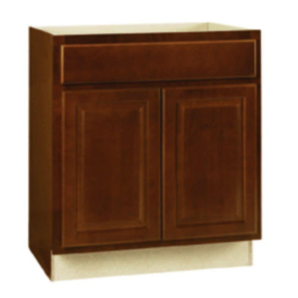 Hampton Bay Hampton Assembled 30x34.5x24 in. Sink Base Kitchen Cabinet in Cognac