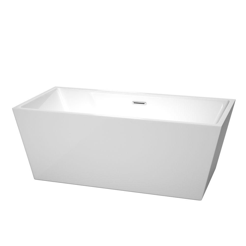 Sara 63 in. Acrylic Flatbottom Center Drain Soaking Tub in White