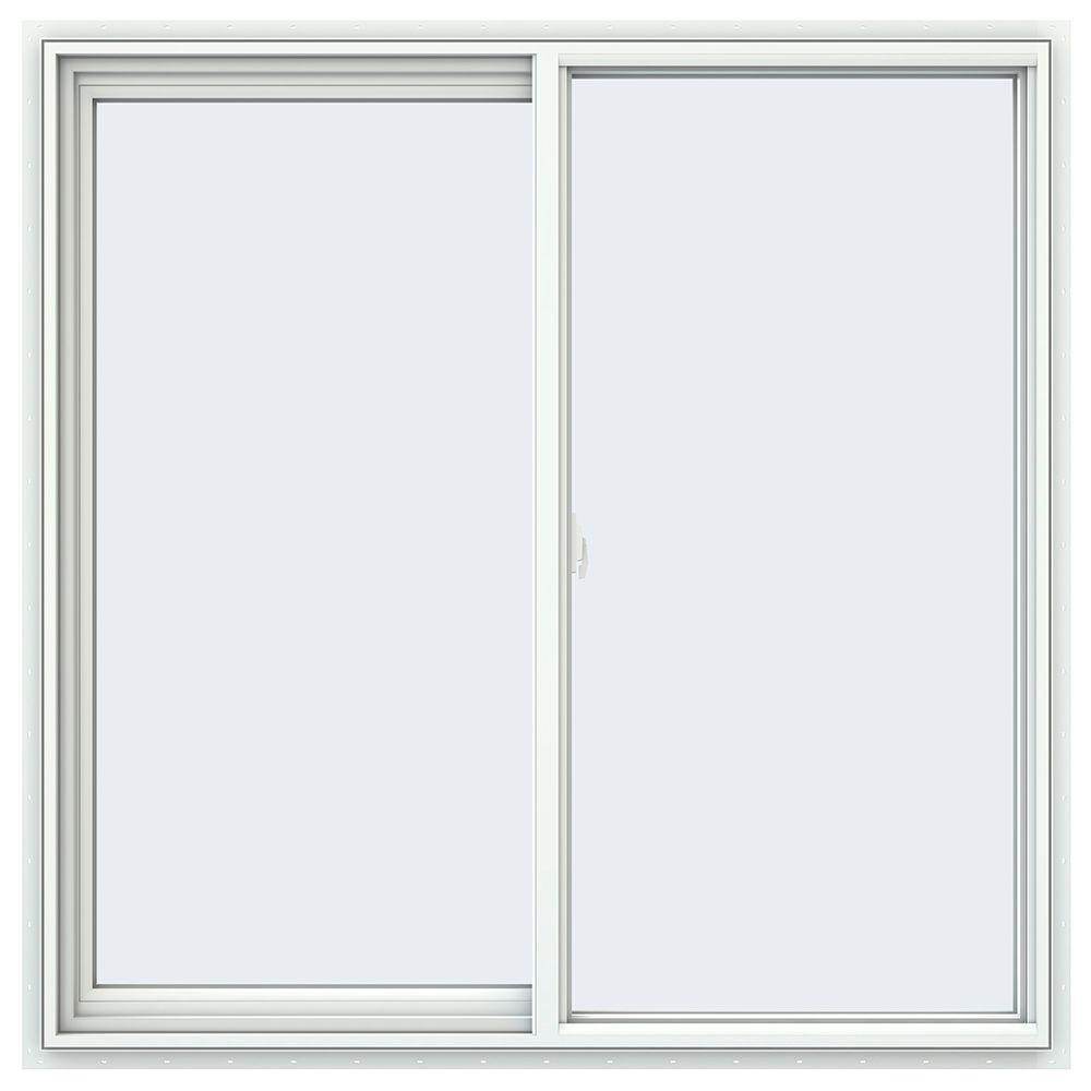JELD-WEN 47.5 in. x 47.5 in. V-2500 Series Left-Hand Sliding Vinyl Window - White