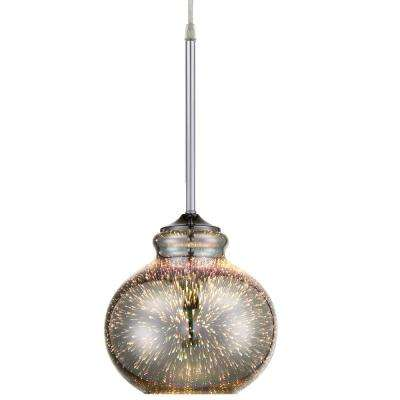 Rogue Decor Spacey 1-Light 7.5 in. Polished Chrome with 3D Iridescent Optic Space Glass Mini Pendant