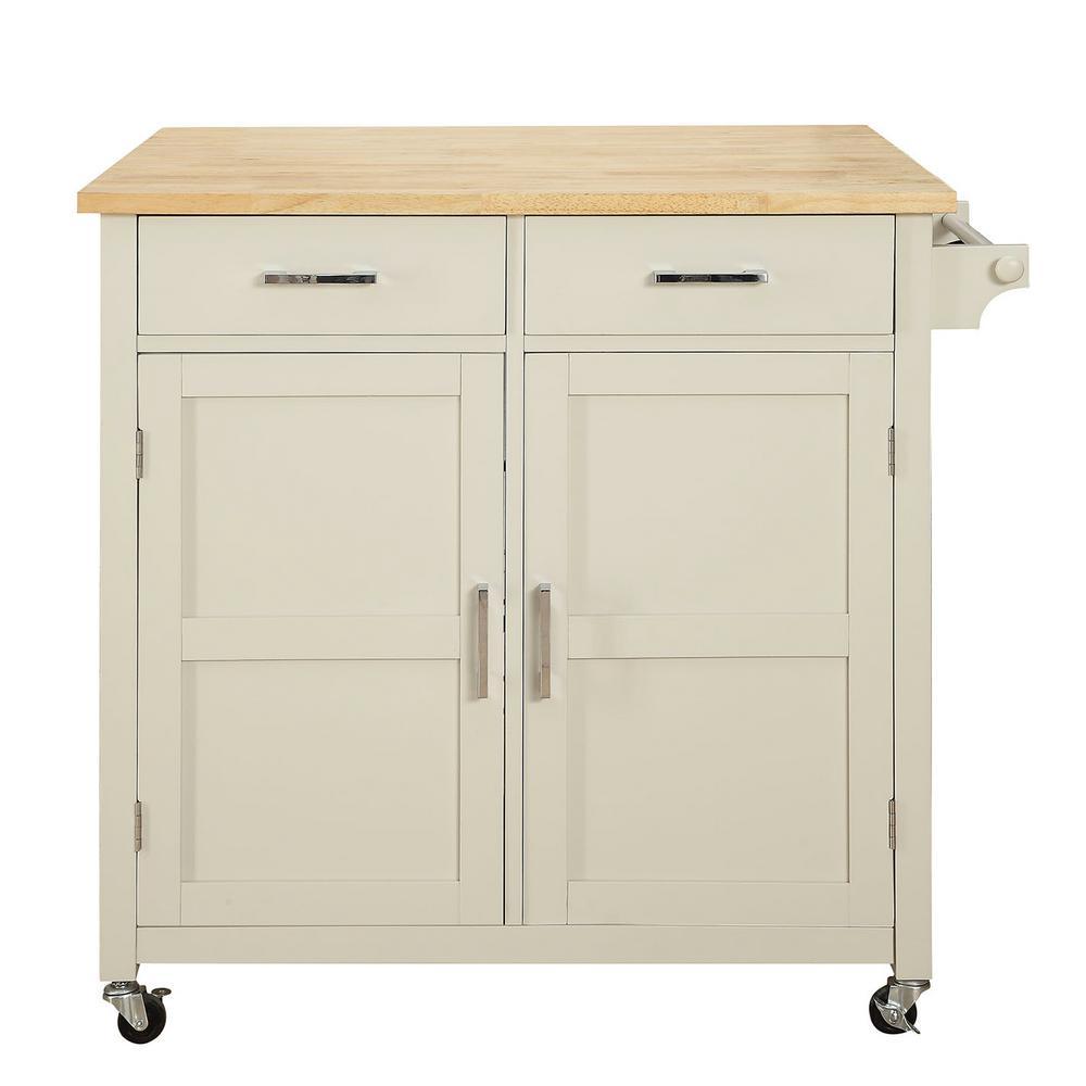 Macie Polar White Kitchen Cart