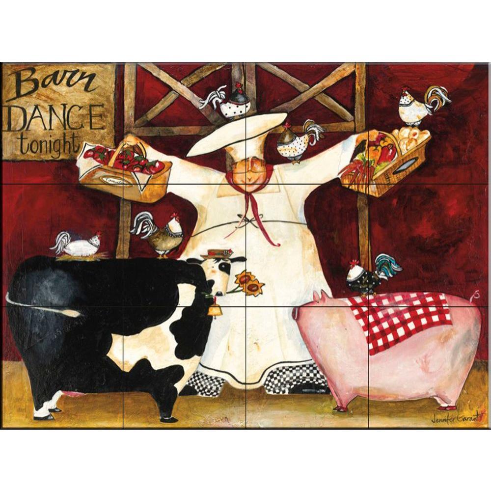 Barn Dance 17 in. x 12-3/4 in. Ceramic Mural Wall Tile
