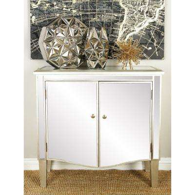 Retro Modern Wooden Cabinet with Gray Mirror Panels