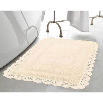 Crochet 100% Cotton 17 in. x 24 in./21 in. x 34 in. 2-Piece Bath Rug Set in Ivory
