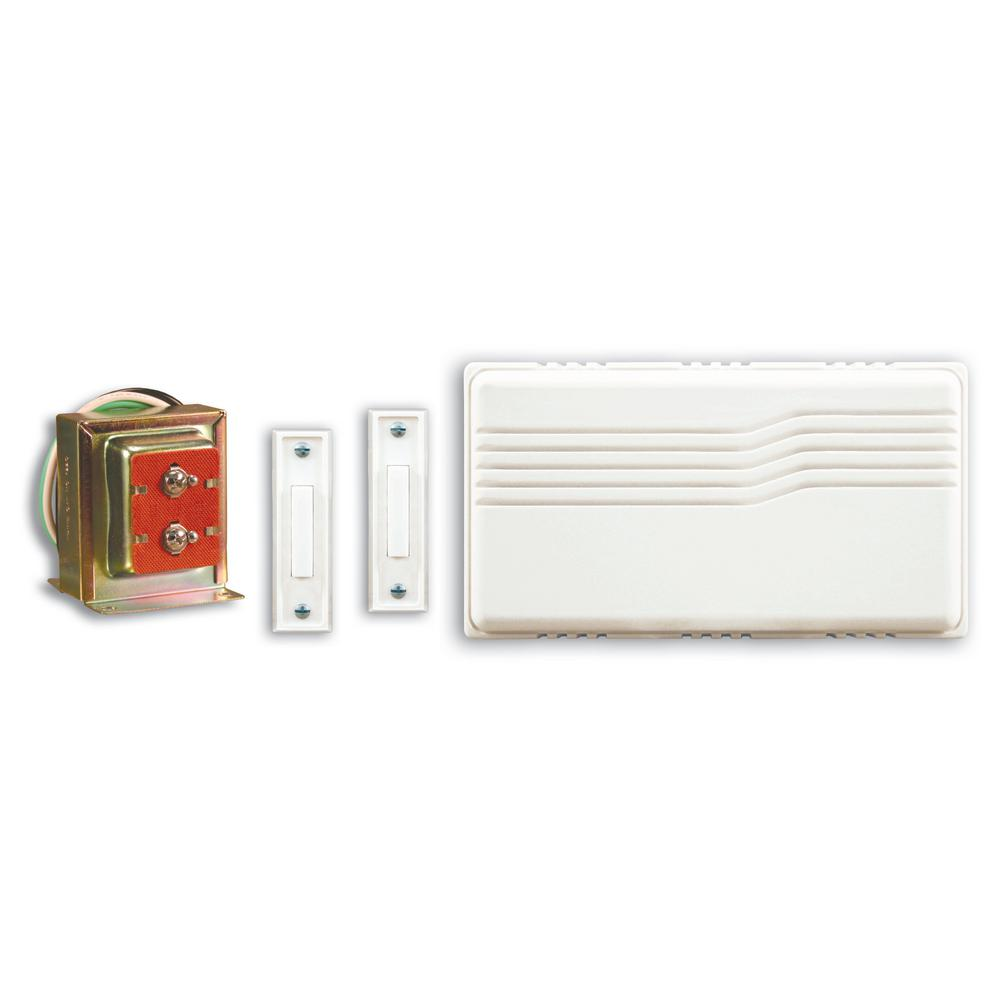 Hampton Bay Wired Door Chime Contractor Kit Hb 27102 03 The Home Depot Wiring Bell