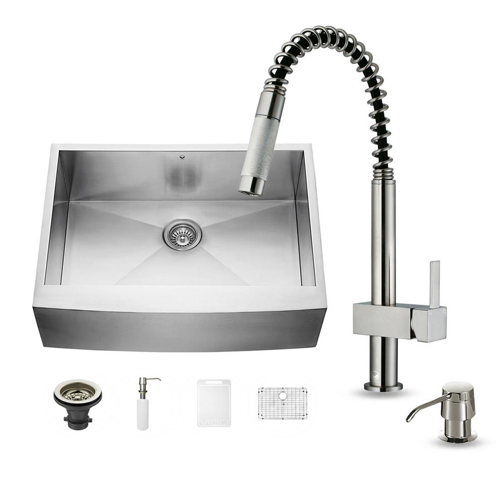 VIGO All-in-One Farmhouse Apron Front Stainless Steel 30 in. 0-Hole Single Basin Kitchen Sink and Faucet Set