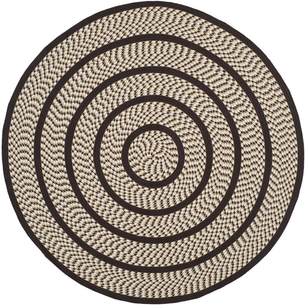 Braided Ivory/Dark Brown 6 ft. x 6 ft. Round Area Rug