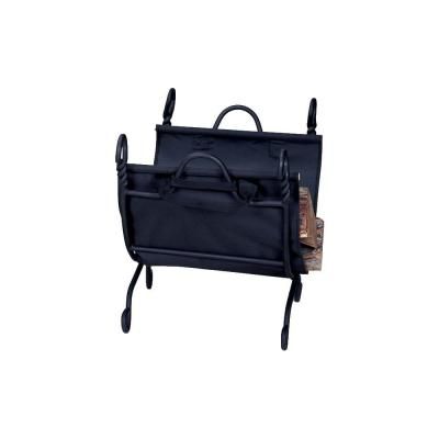 Black Decorative Firewood Rack with Removable Canvas Log Carrier