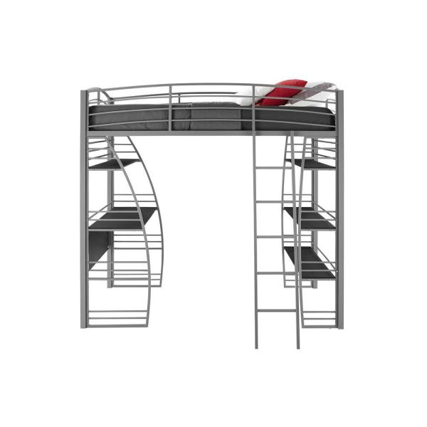 DHP Simona Silver Finish Twin Loft Bed with Integrated Desk and Shelves