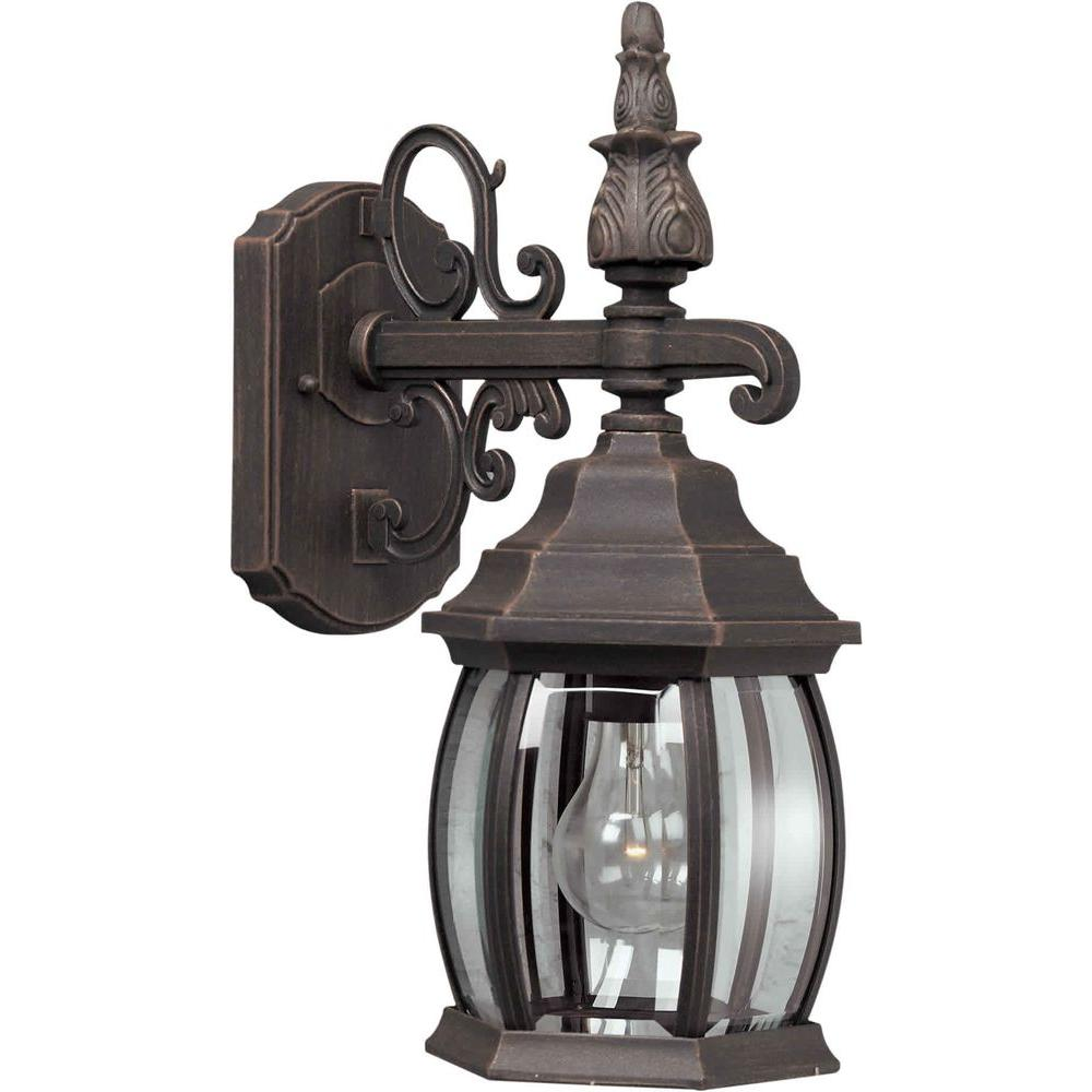 Talista 1-Light Outdoor Painted Rust Lantern with Clear Beveled Glass Panel
