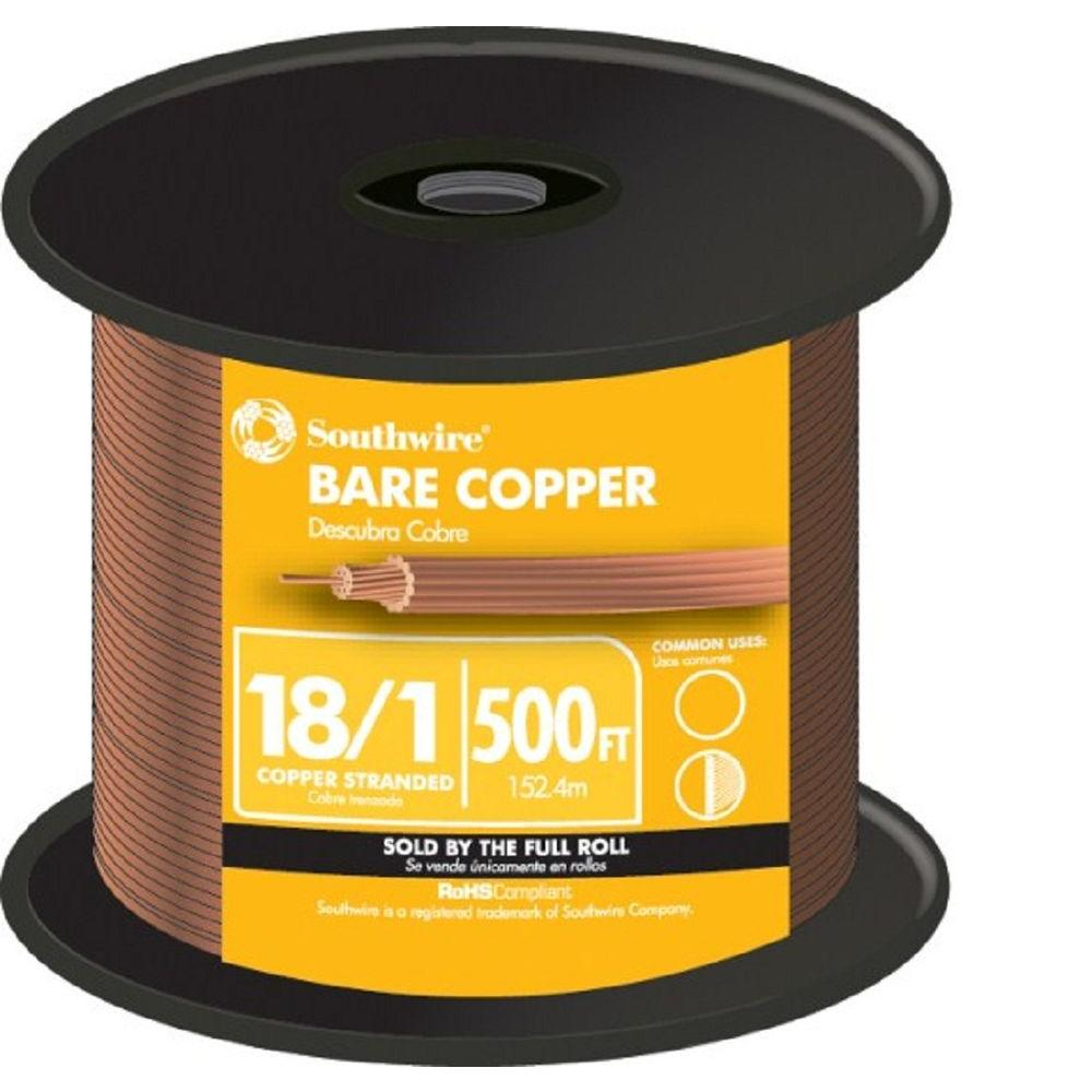 Southwire (By-the-Foot) 18-Gauge Stranded SD Bare Copper Grounding ...