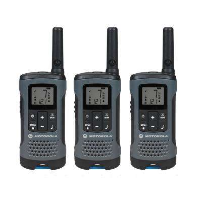 Talkabout T200TP Rechargeable 2-Way Radio, Gray (3-Pack)