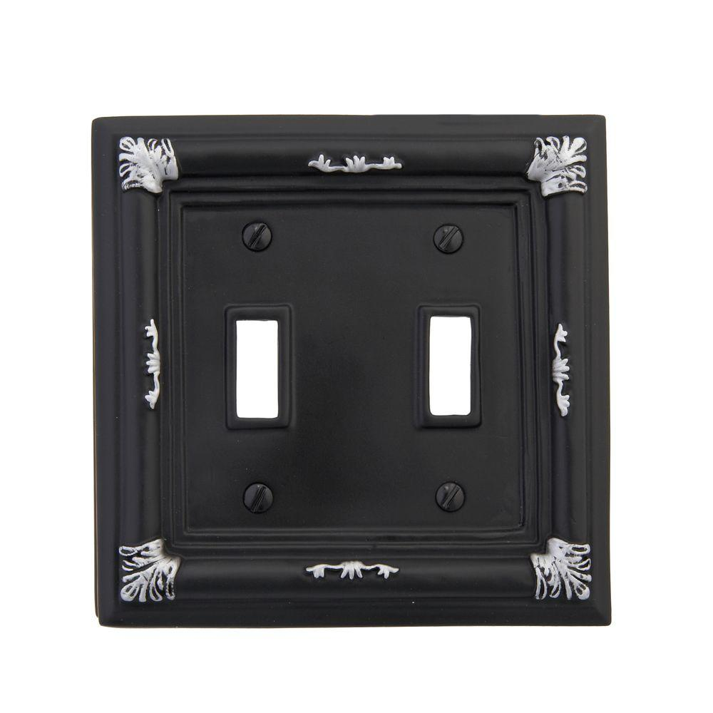 Amerelle Isabella 2 Toggle Wall Plate - Black