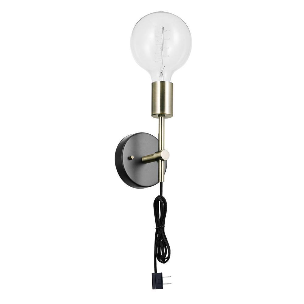 Owen 1-Light Antique Brass and Dark Bronze Plug-In or Hardwire Wall Sconce
