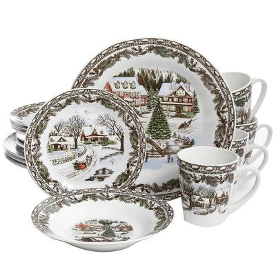 Christmas Toile 16-Piece Multi Color Dinnerware Set