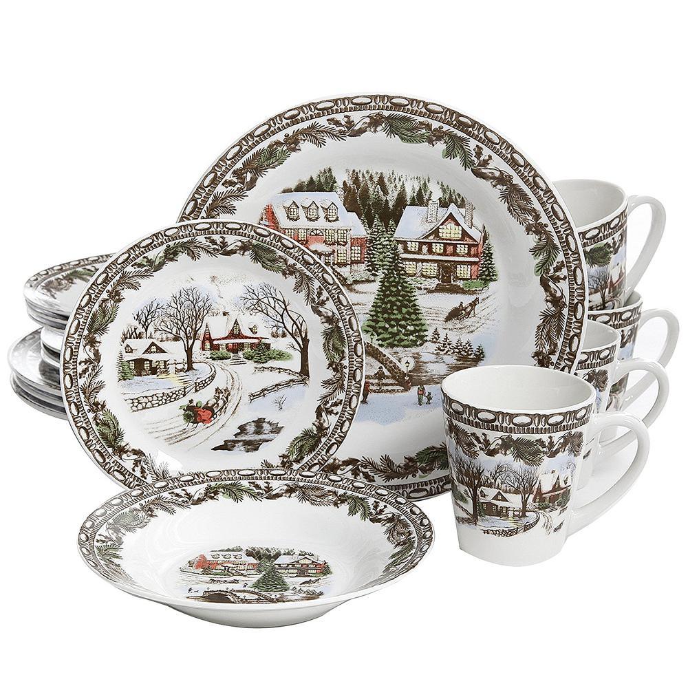 Christmas Toile 16-Piece Multi Color Dinnerware Set