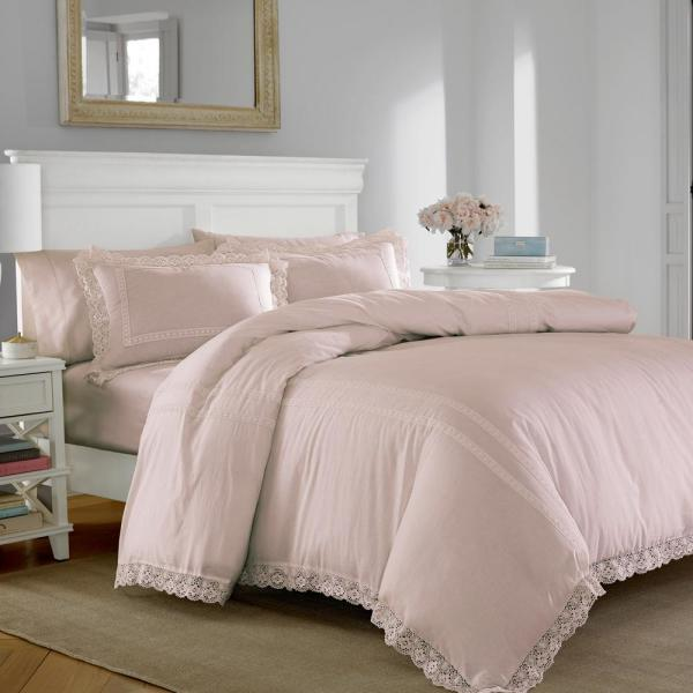 Laura Ashley Annabella Pink 2-Piece Twin Duvet Cover Sets USHSFQ1044180