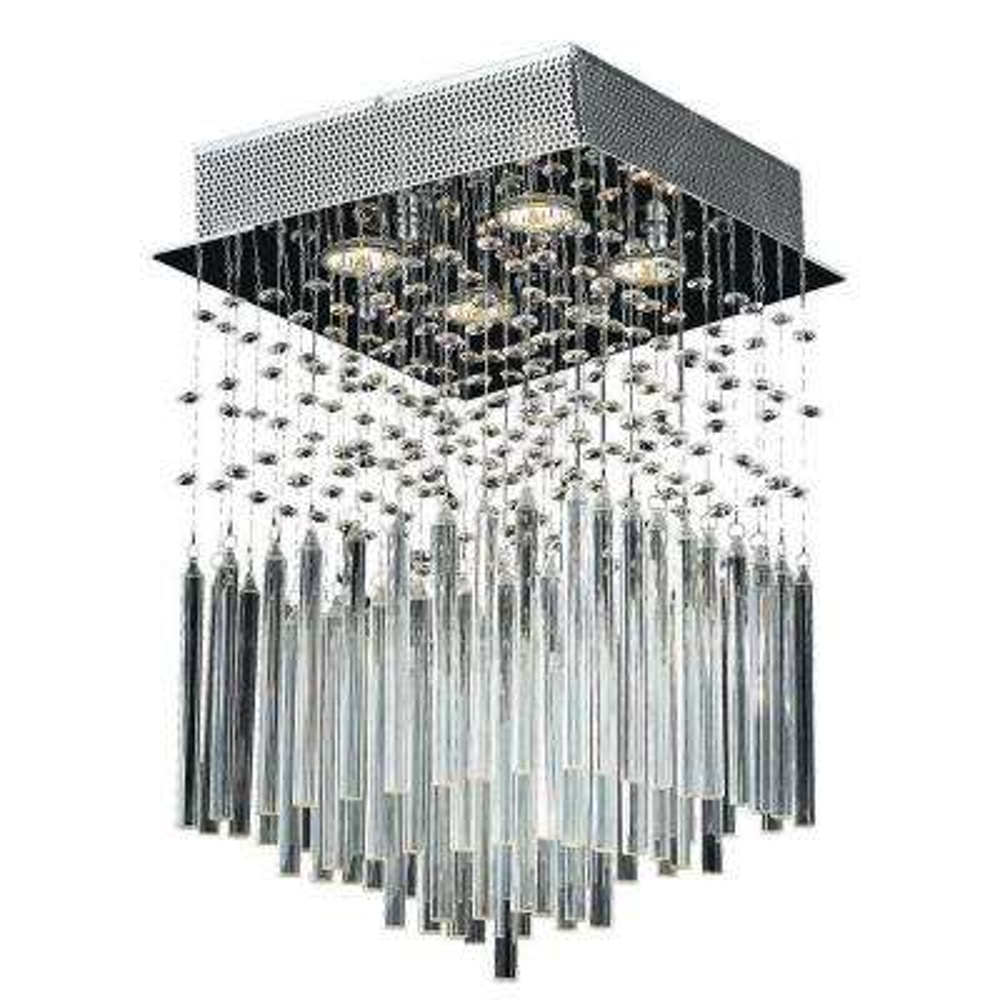 Torrent Collection 4-Light Chrome Crystal Ceiling Flushmount