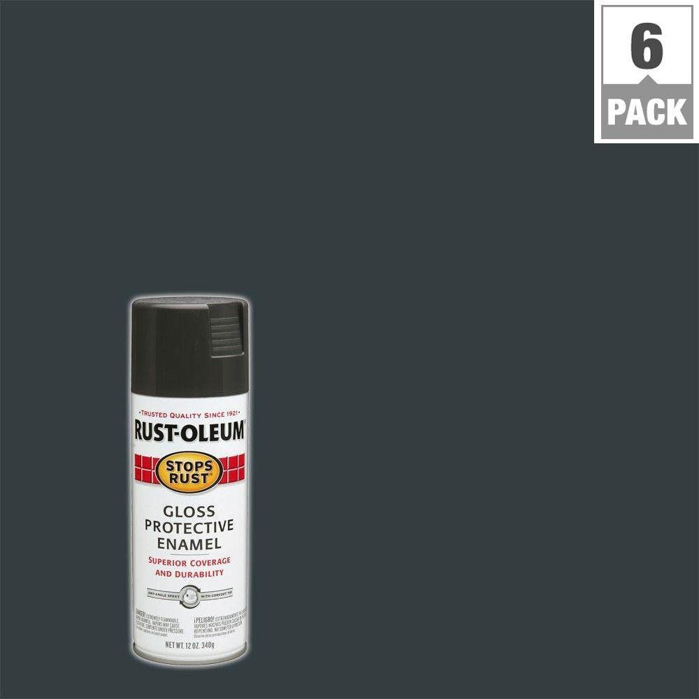 Protective Enamel Gloss Charcoal Gray Spray Paint (6-Pack)