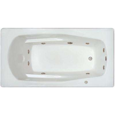 5.92 ft. Left Drain Drop-in Rectangular Whirlpool Bathtub in White
