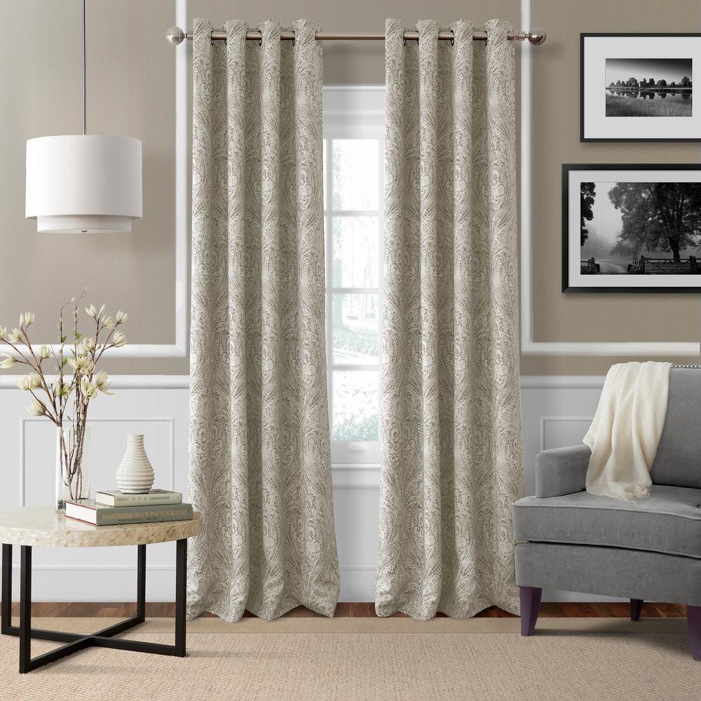 Blackout Julianne Natural Blackout Window Curtain Panel - 52 in. W x 84 in. L