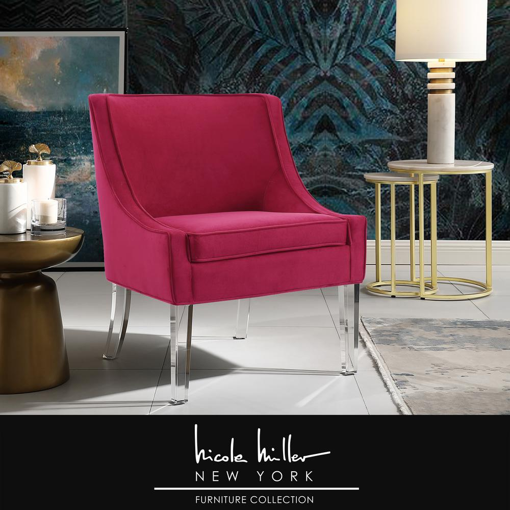 Nicole Miller Terrance Hot Pink Velvet Accent Chair with Upholstered Armless