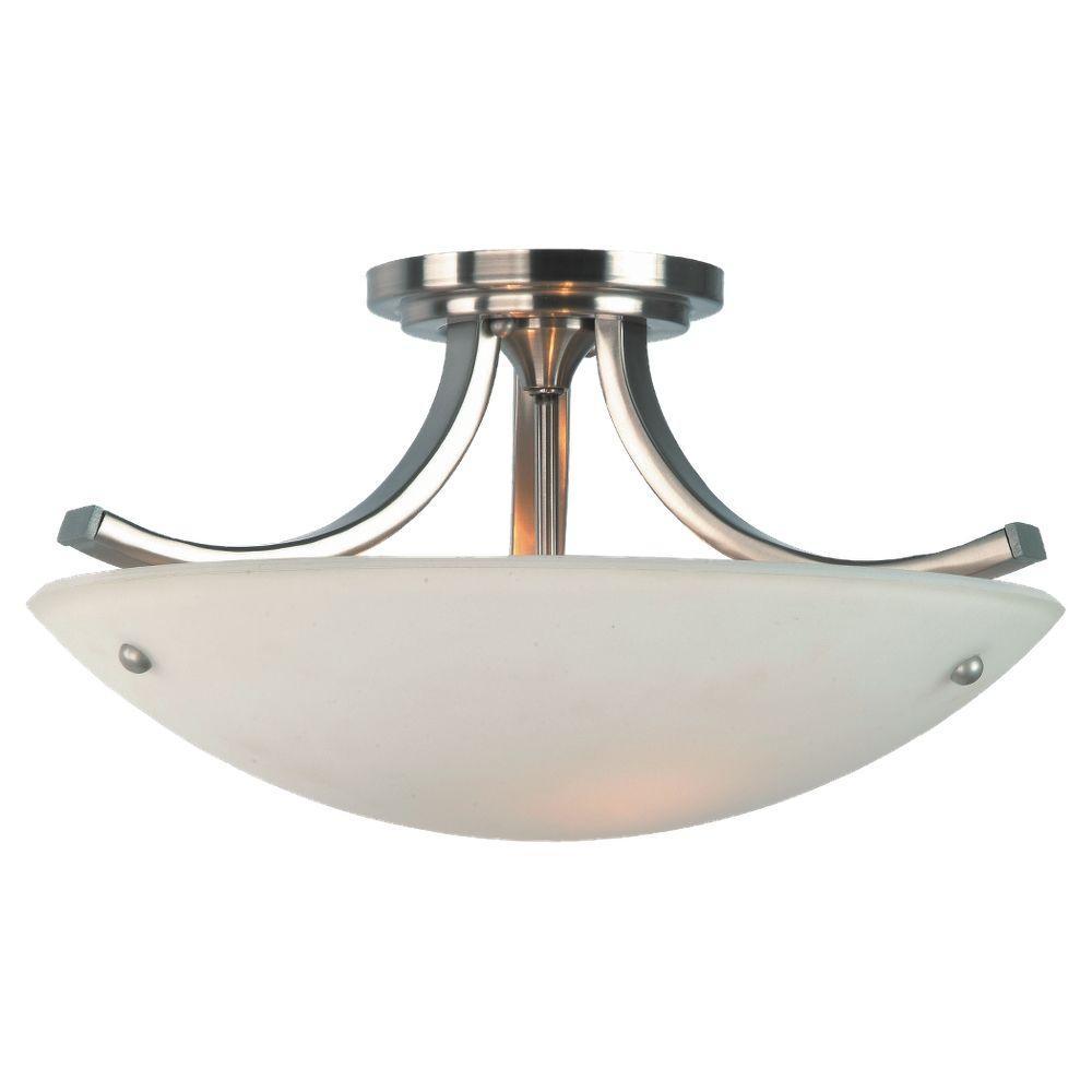 Gravity 3-Light Brushed Steel and Polished Nickel Semi-Flush Mount Light